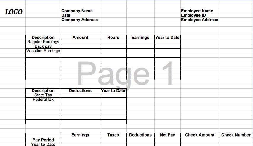 Excel Template Pay Stub