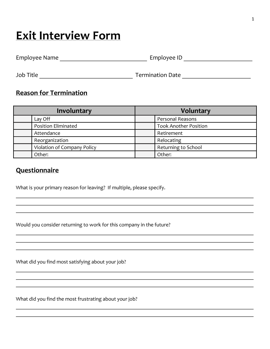 Exit Interview Forms Templates