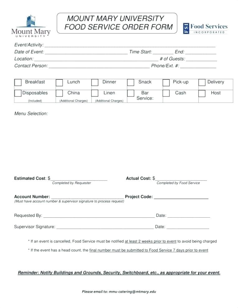 Food Catering Form Template