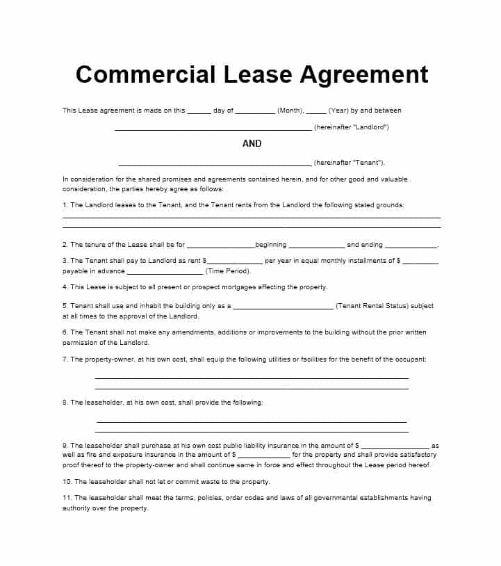 Free Commercial Lease Template