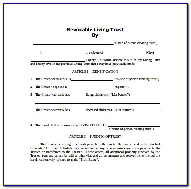Free Living Trust Template California