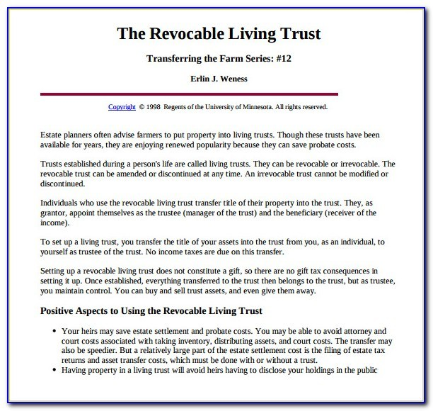 Free Living Trust Template