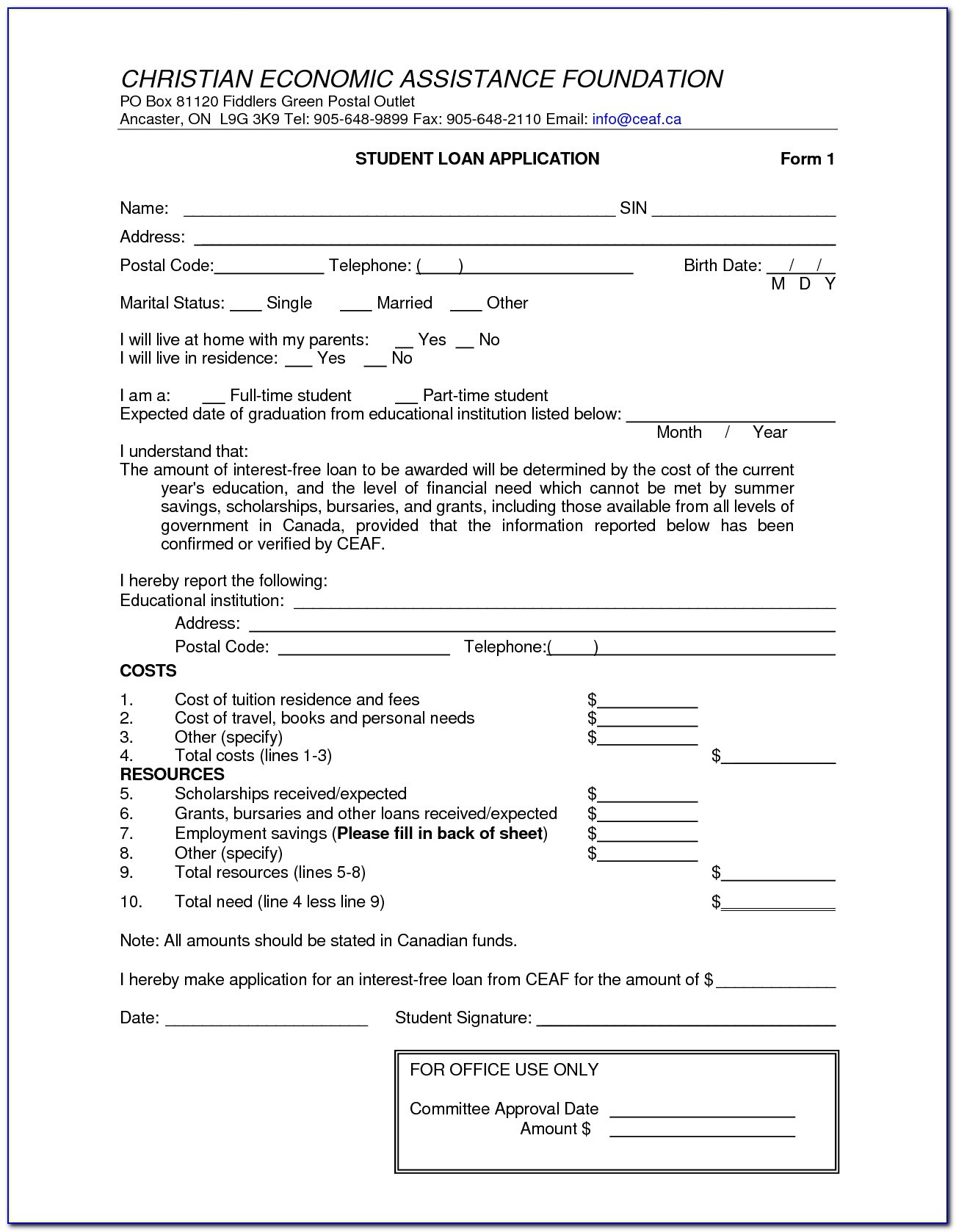 Free Loan Contract Template