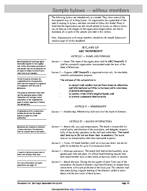 Free Non Profit Bylaws Template
