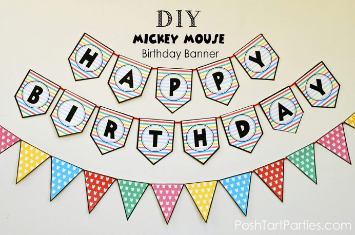 Free Printable Mickey Mouse Birthday Banner Template