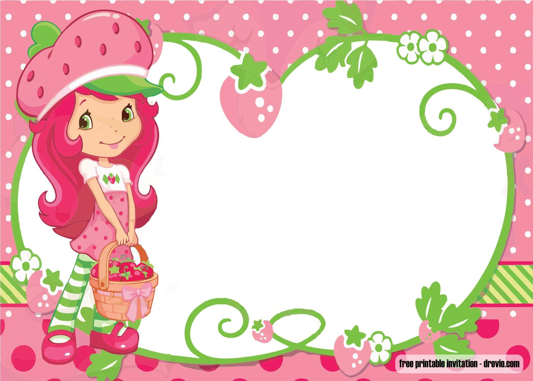 Free Printable Strawberry Shortcake Invitation Template
