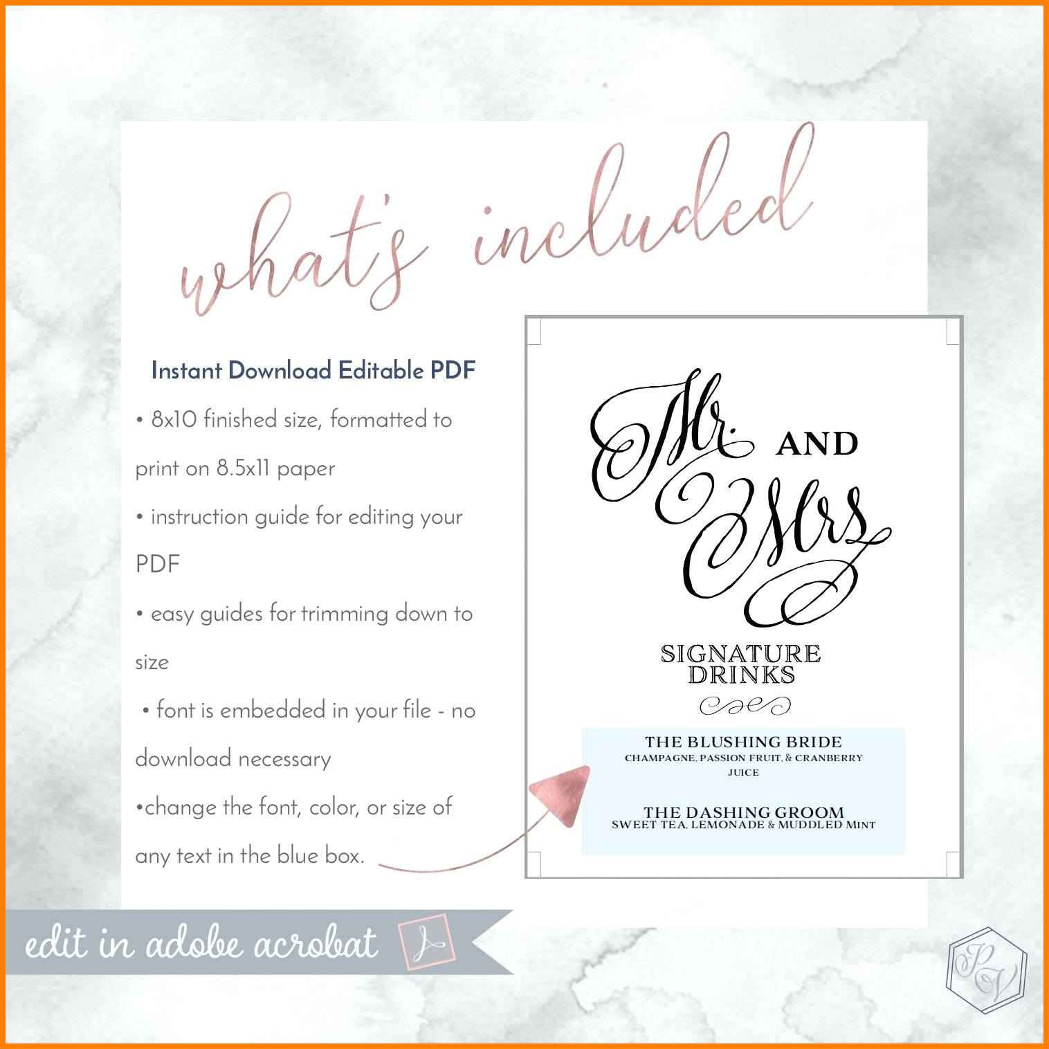 Free Wedding Menu Templates For Microsoft Word Awesome 6 Cocktail Menu Template Free