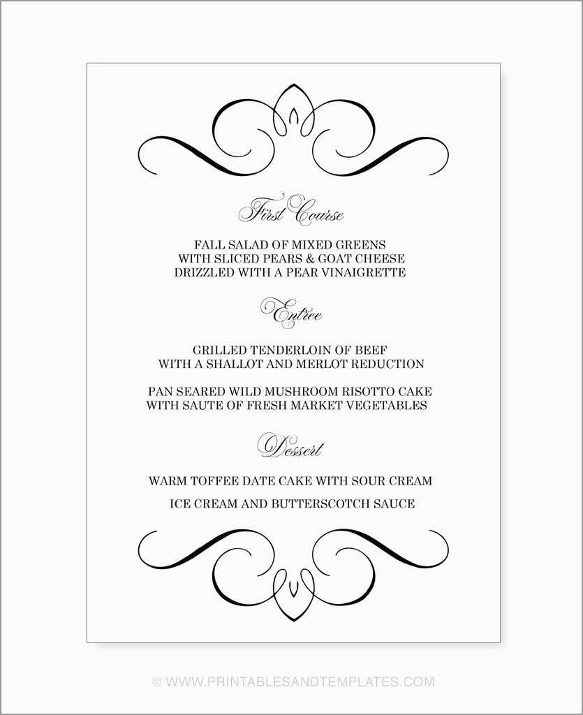 Free Wedding Menu Template Word