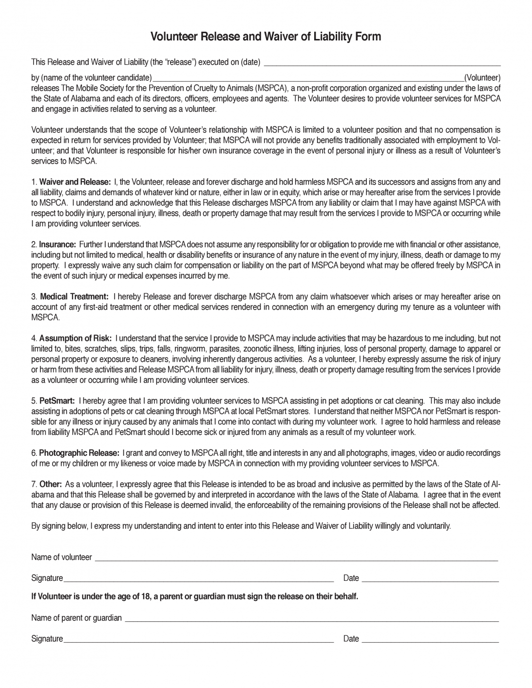General Liability Waiver Template Free