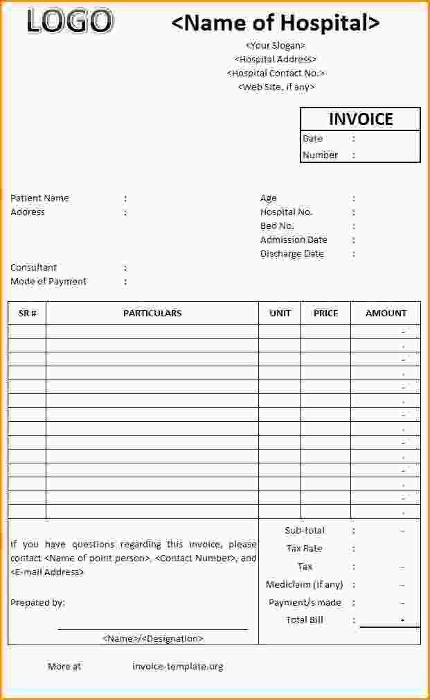 Hospital Bill Invoice Template