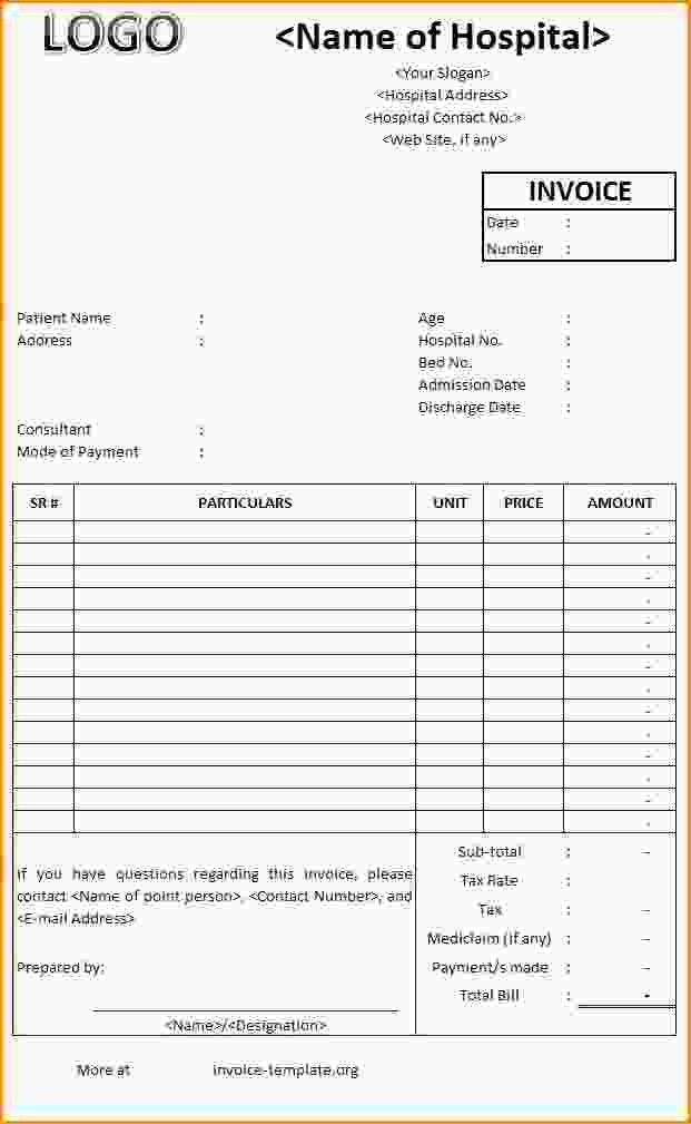 Hospital Invoice Template Word