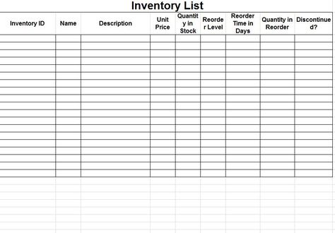 Inventory Sheet Free Inventory Spreadsheet Template