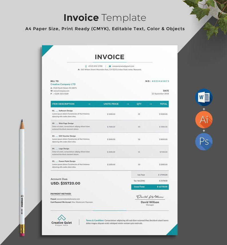 Invoice Estimate Template Word