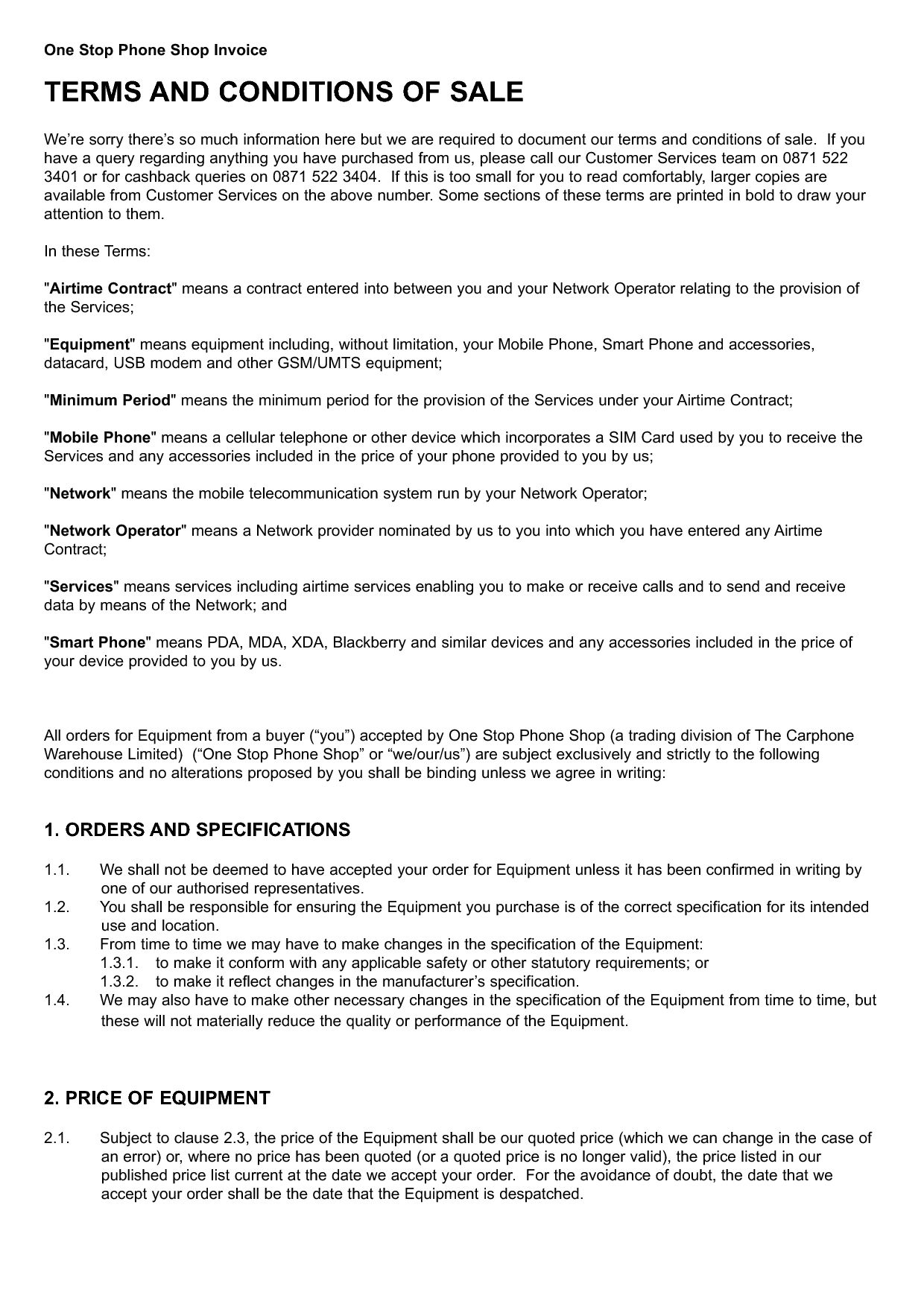 Invoice Terms And Conditions Template