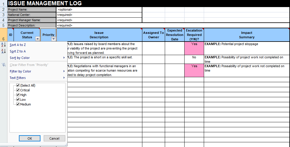 Issue Tracking Excel Template Free Download