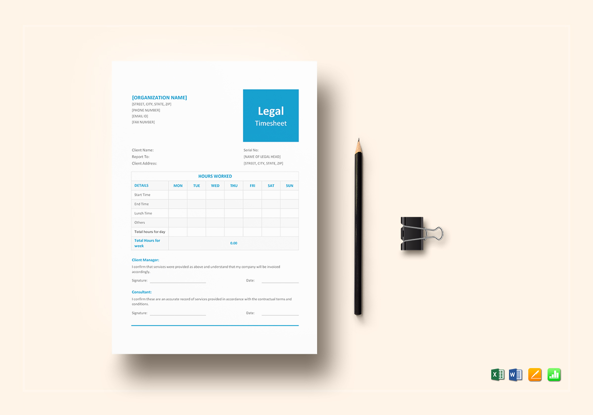Legal Timesheet Template Excel