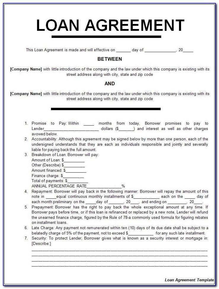 Loan Agreement Templates Uk