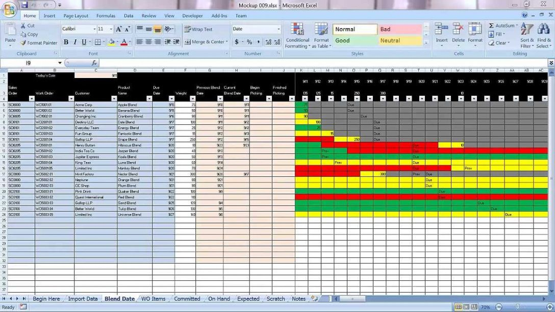 Manufacturing Production Schedule Excel Template