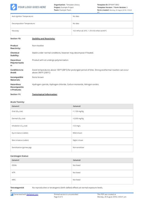 Material Safety Data Sheet Template