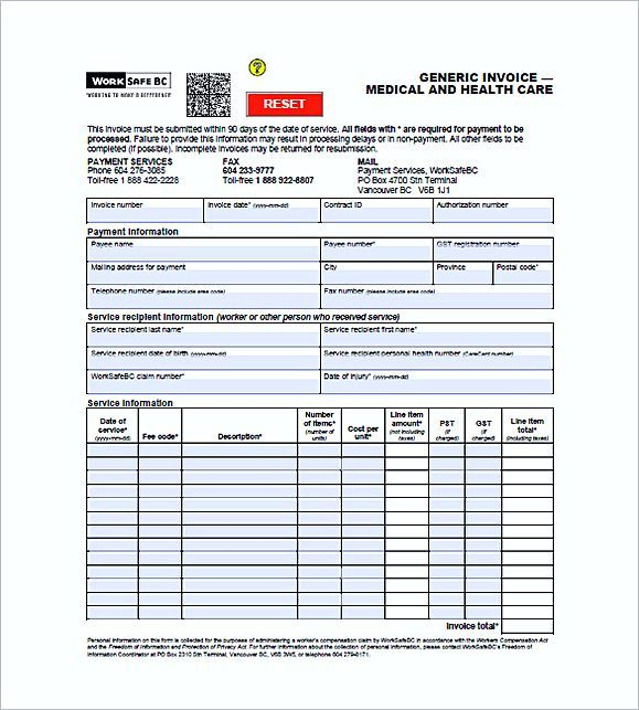 Medical Office Invoice Template