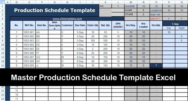 Microsoft Excel Production Schedule Template