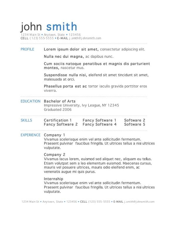 Microsoft Word Simple Resume Templates