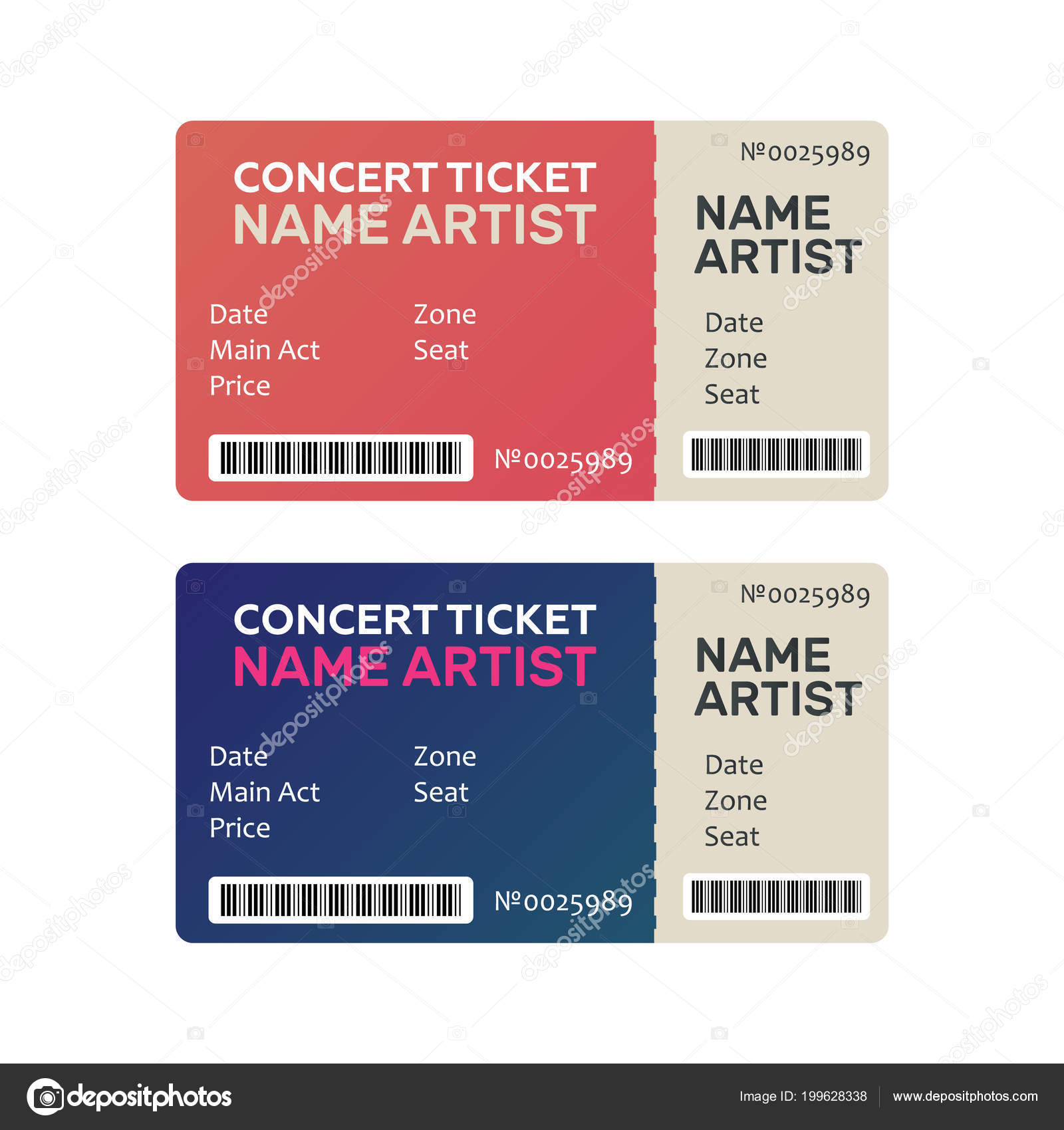 Ticket Concert Invitation, Show. Music, Dance, Live Concert Tick