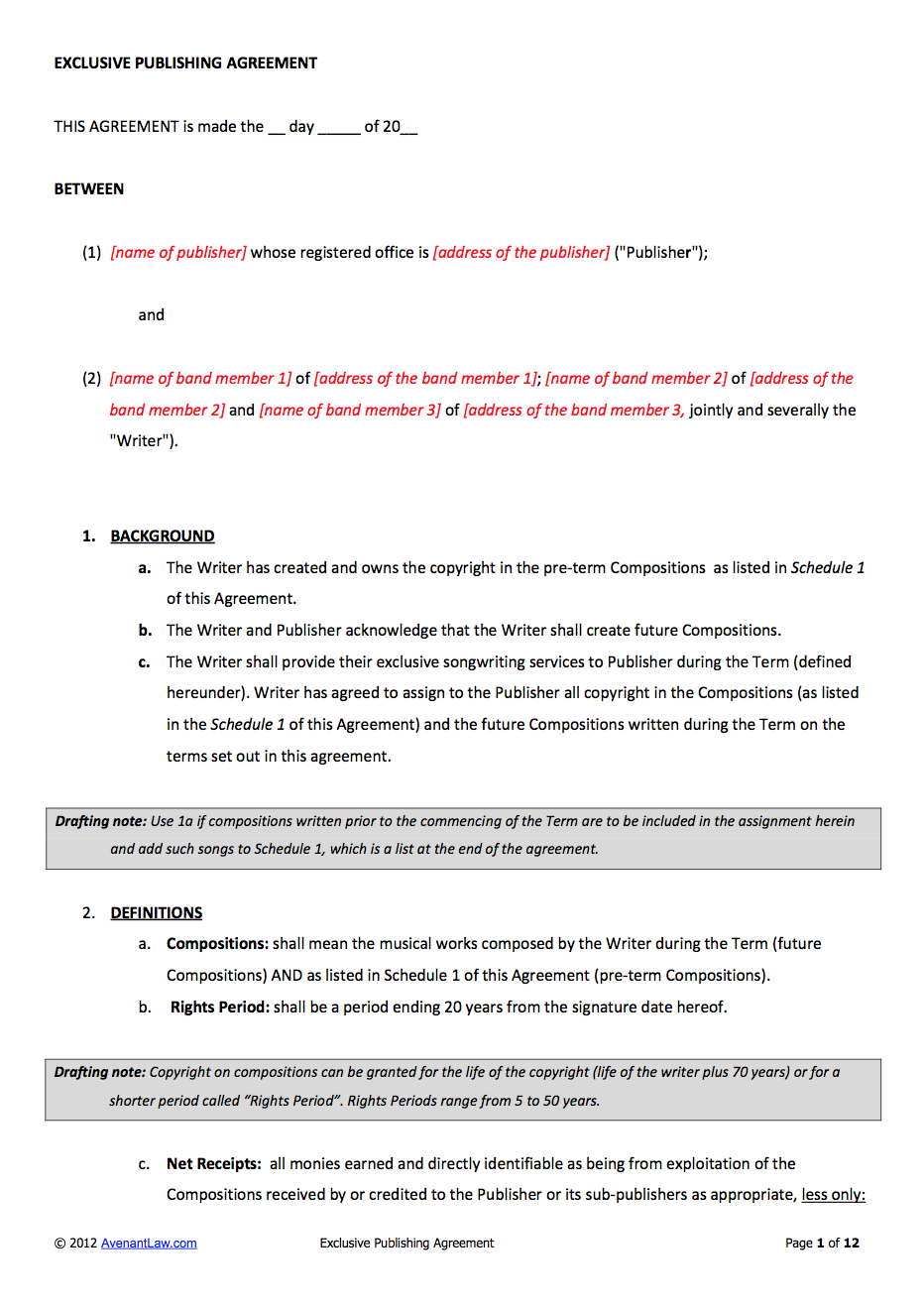 Music Publishing Contract Template