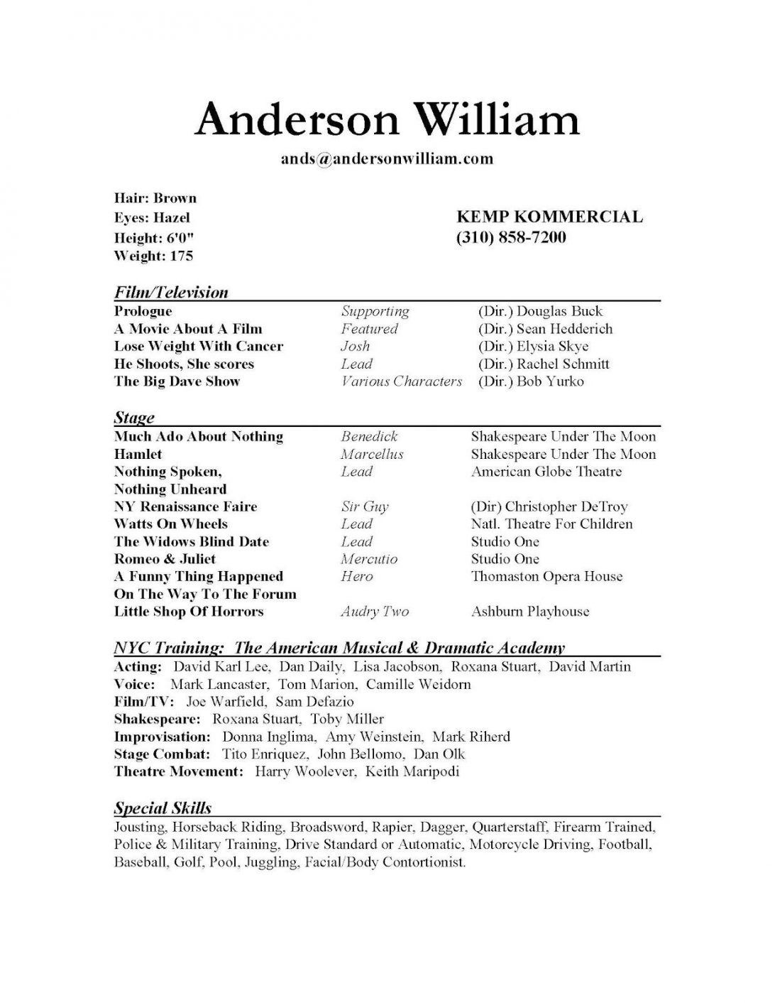 Musical Theatre Audition Resume Template