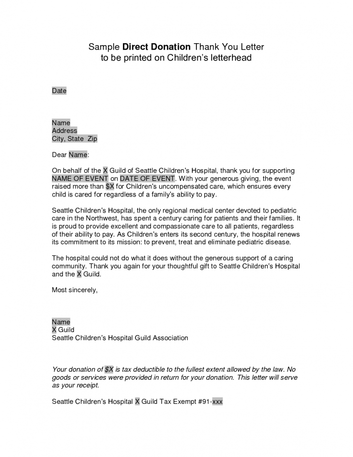 Non Profit Donor Thank You Letter Template