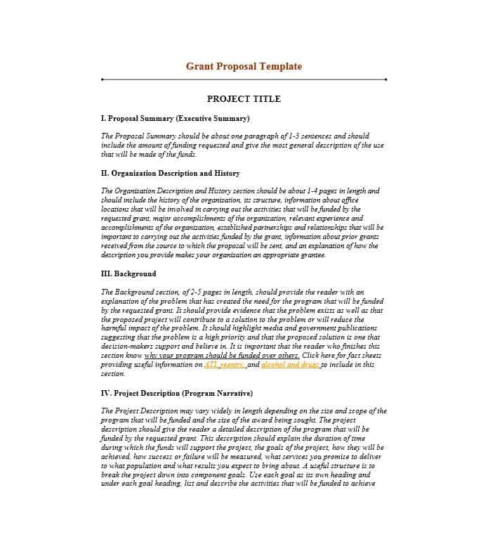 Non Profit Grant Proposal Template