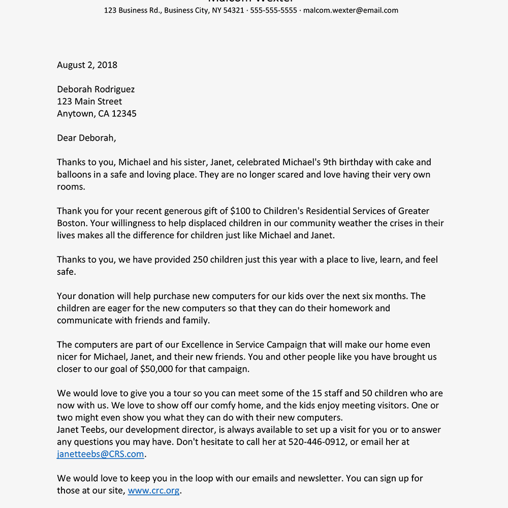 Non Profit Thank You Donation Letter Template