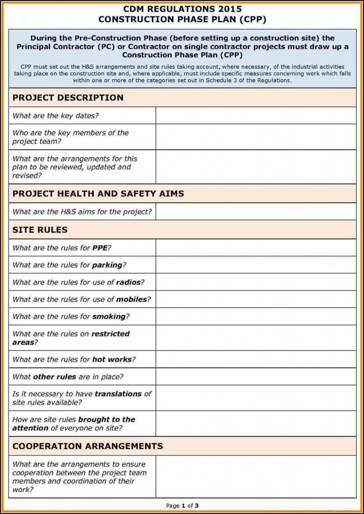 Osha Safety Plan Template