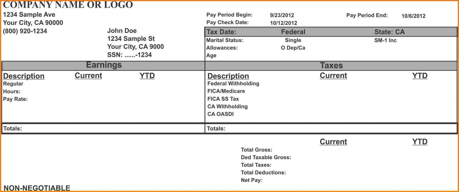 Payroll Check Stubs Template