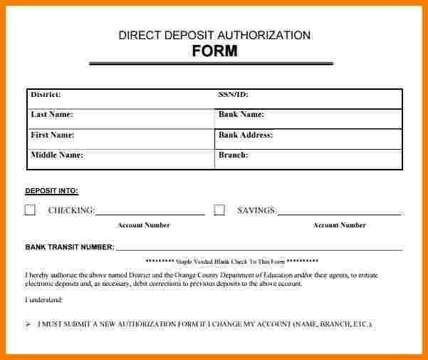 Payroll Direct Deposit Form Template