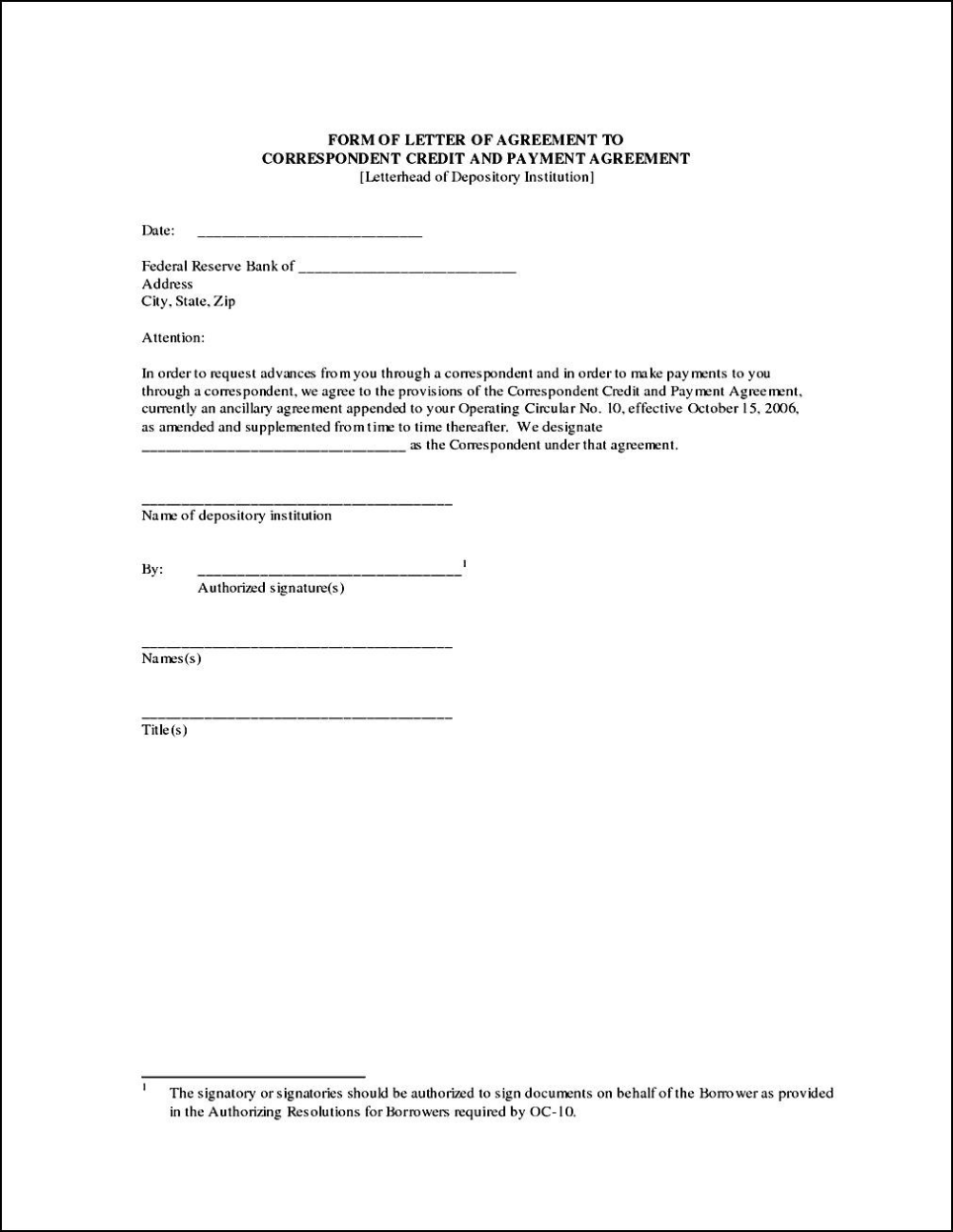 Personal Loan Agreement Letter Template
