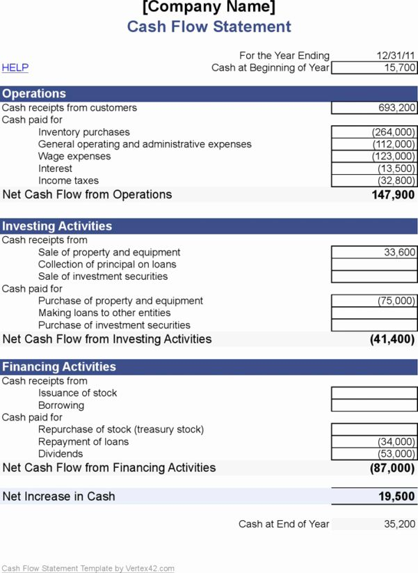 Personal Monthly Cash Flow Statement Template