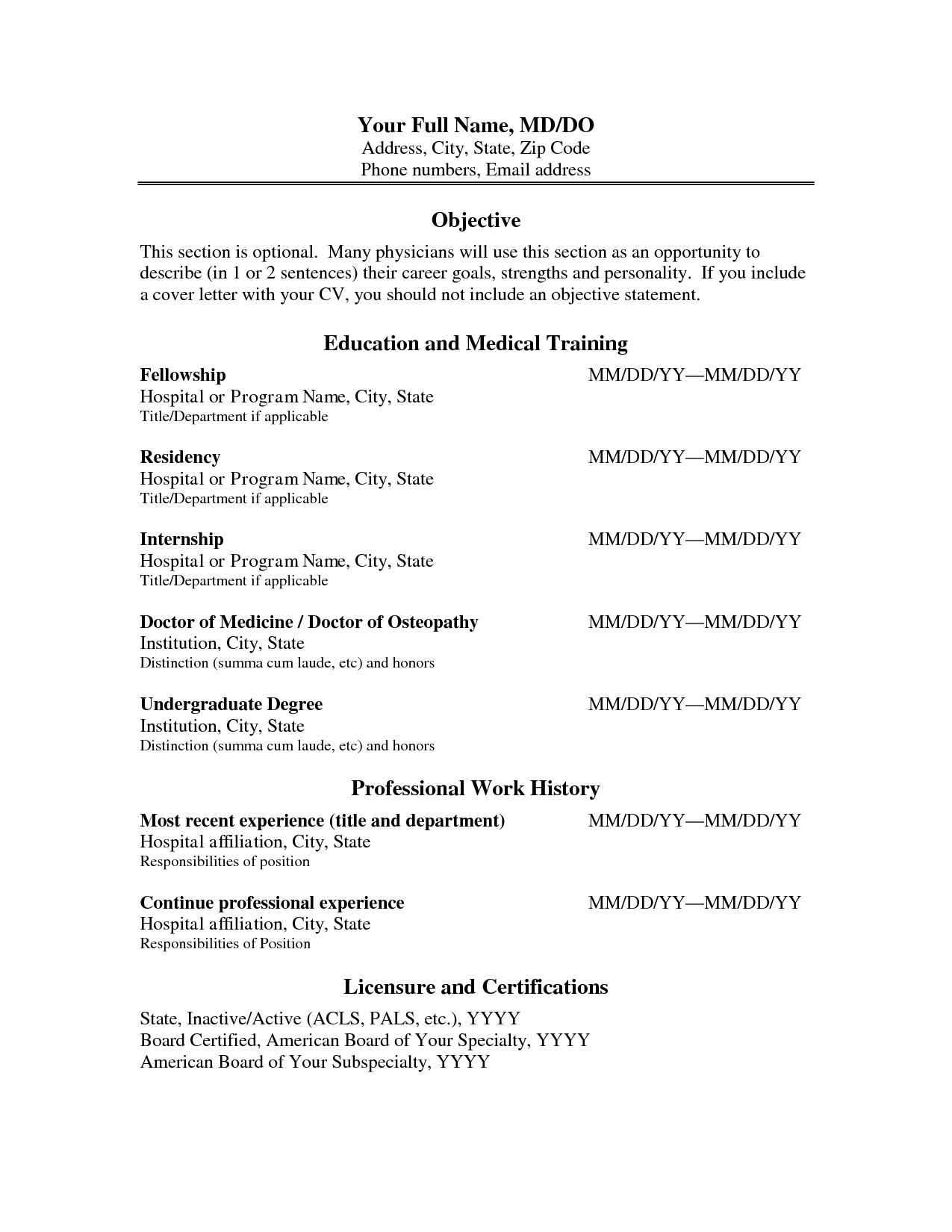 Physician Curriculum Vitae Template