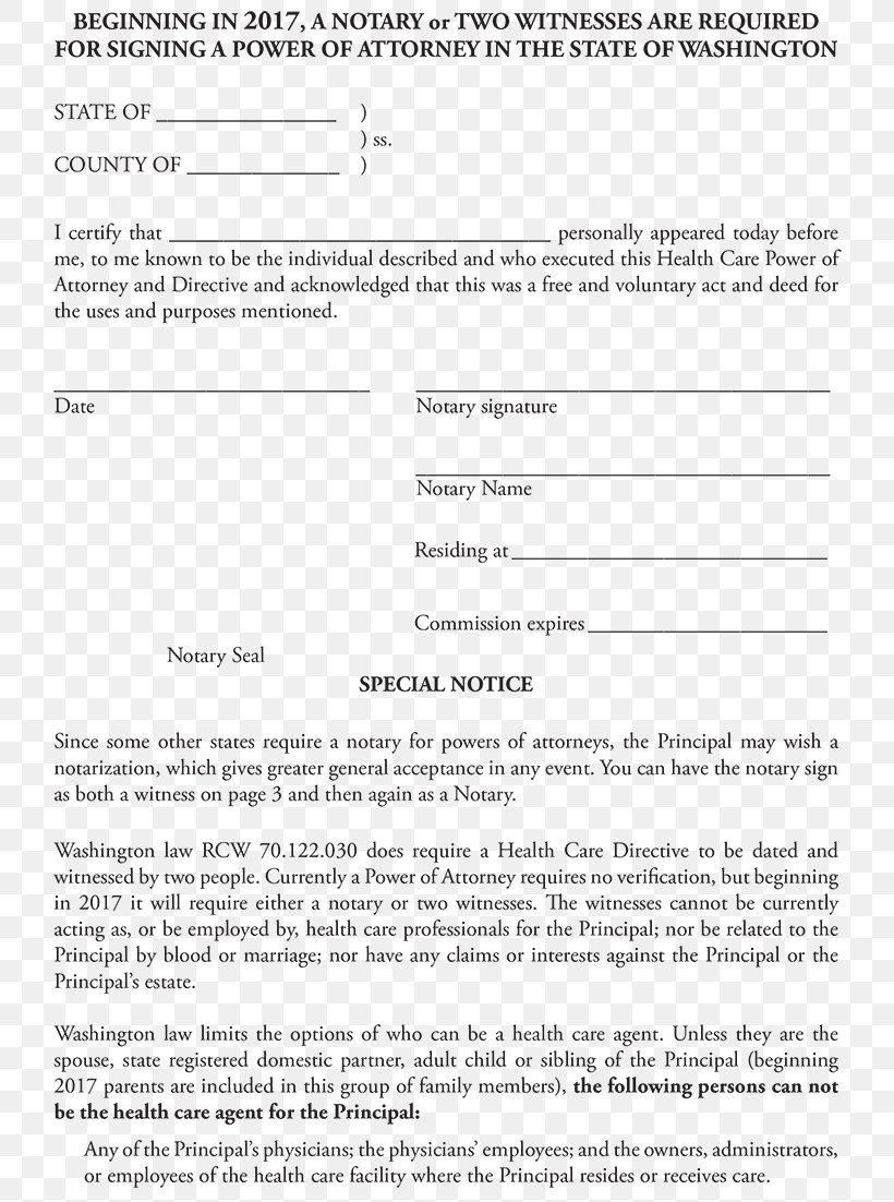 Power Of Attorney Notary Template