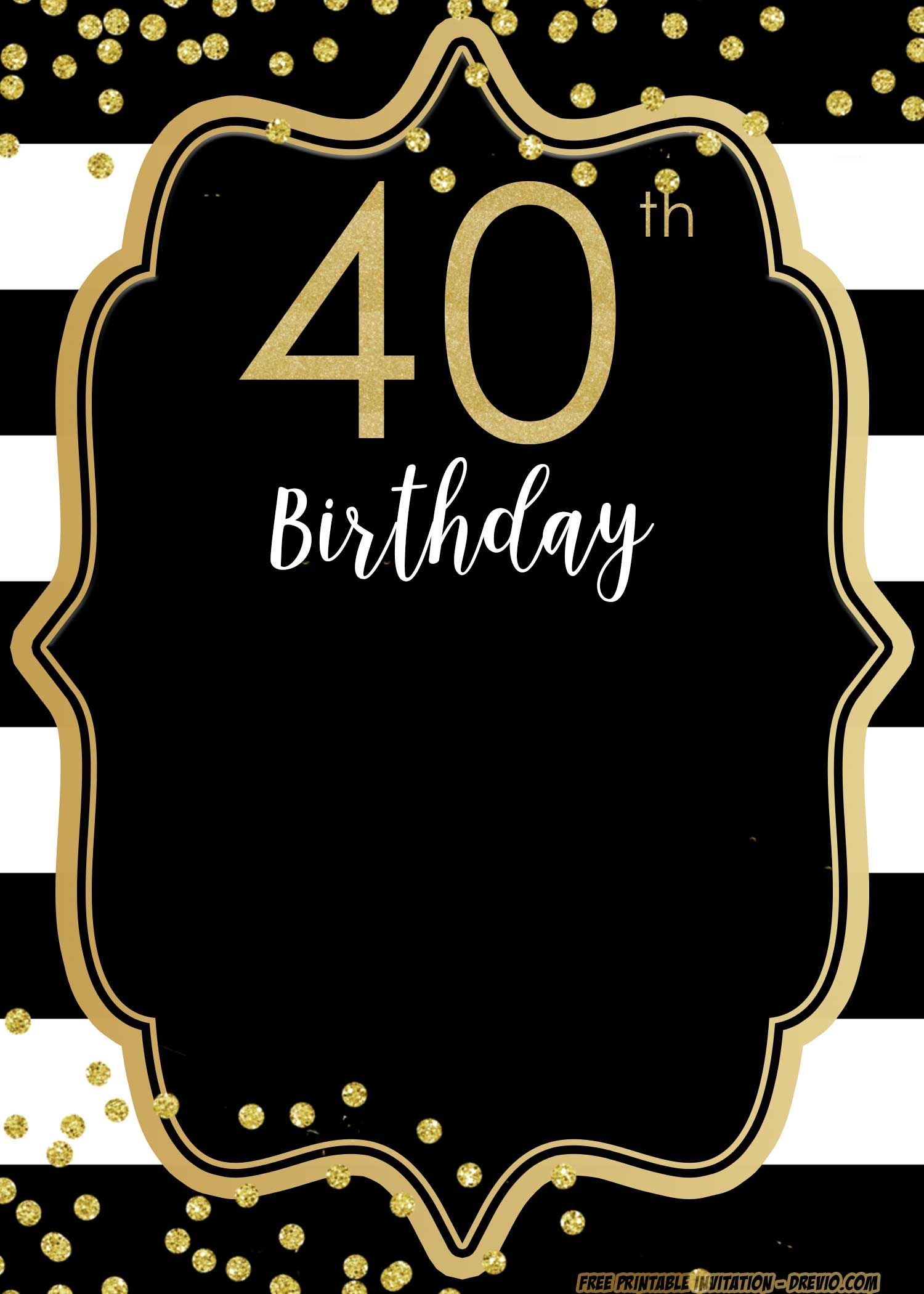Printable 40th Birthday Invitation Templates