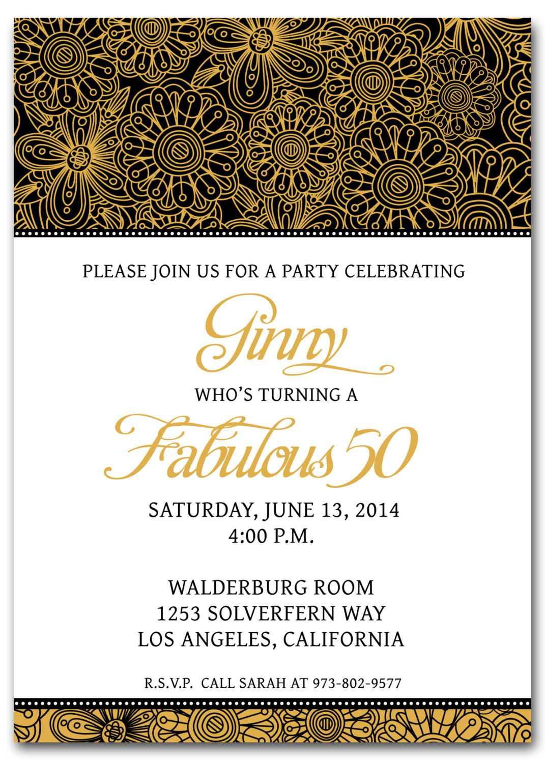 Printable 50th Birthday Invitation Templates Free
