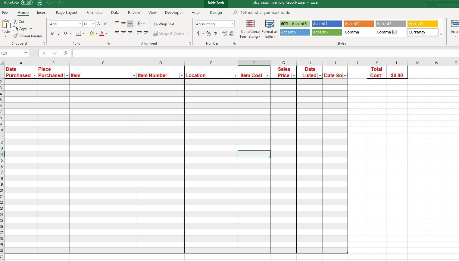 Printable Basic Spreadsheet Template