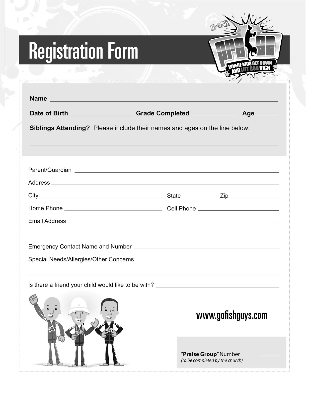 Printable Church Registration Form Template