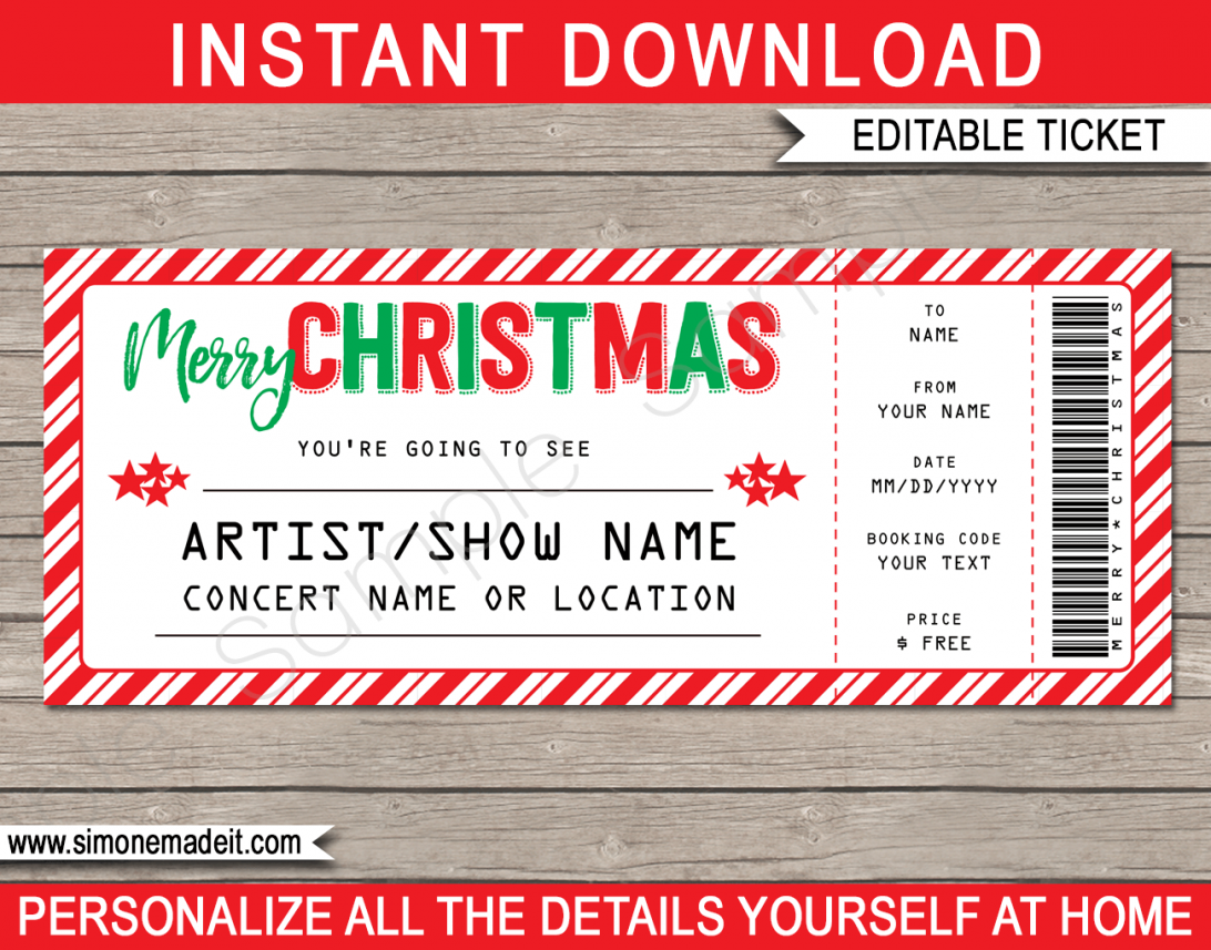 Printable Concert Ticket Gift Template Free