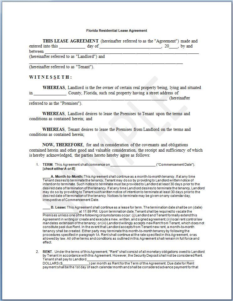 Printable Florida Lease Agreement Template