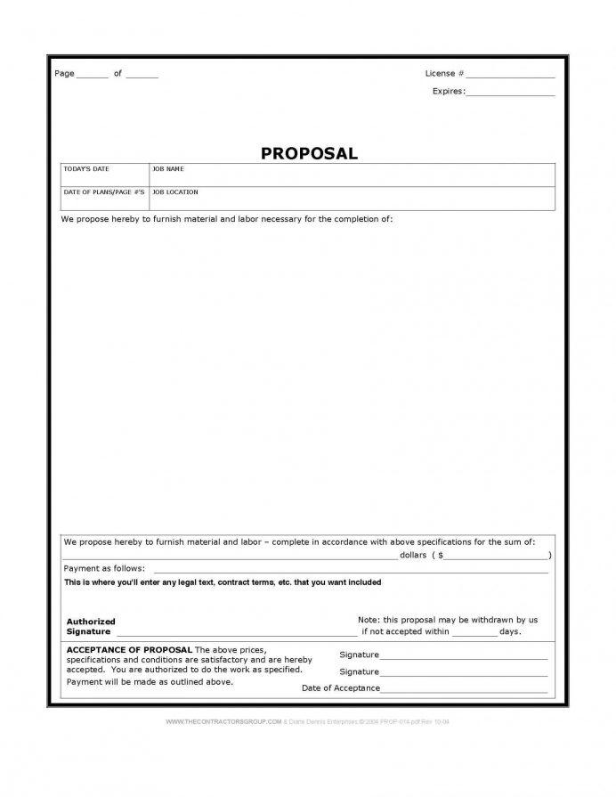 Printable Free Bid Proposal Template Pdf