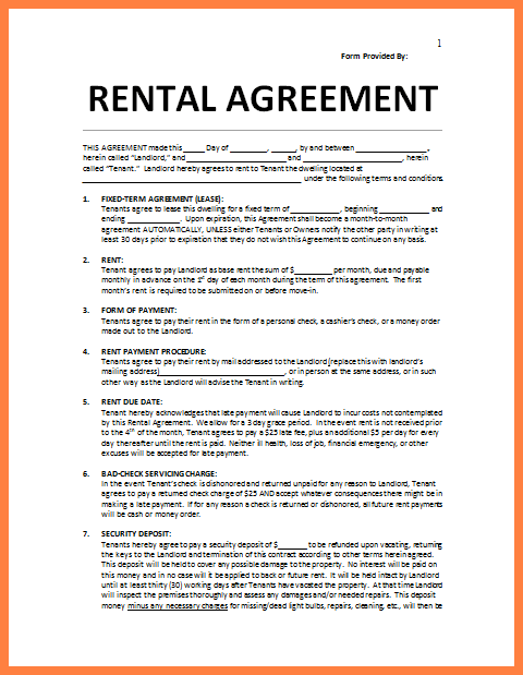 Printable Free Room Rental Agreement Template Word