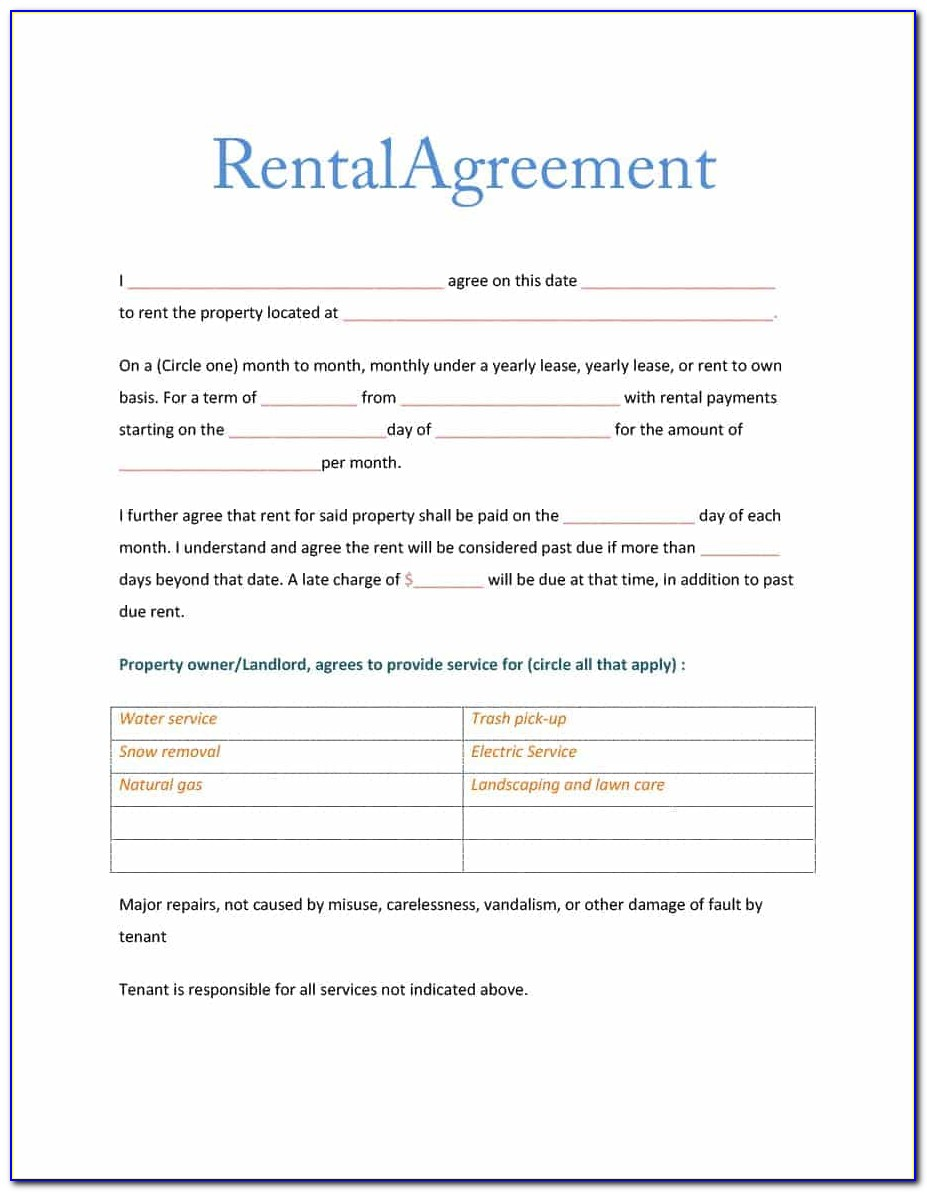Printable Rental Agreement Template Pdf