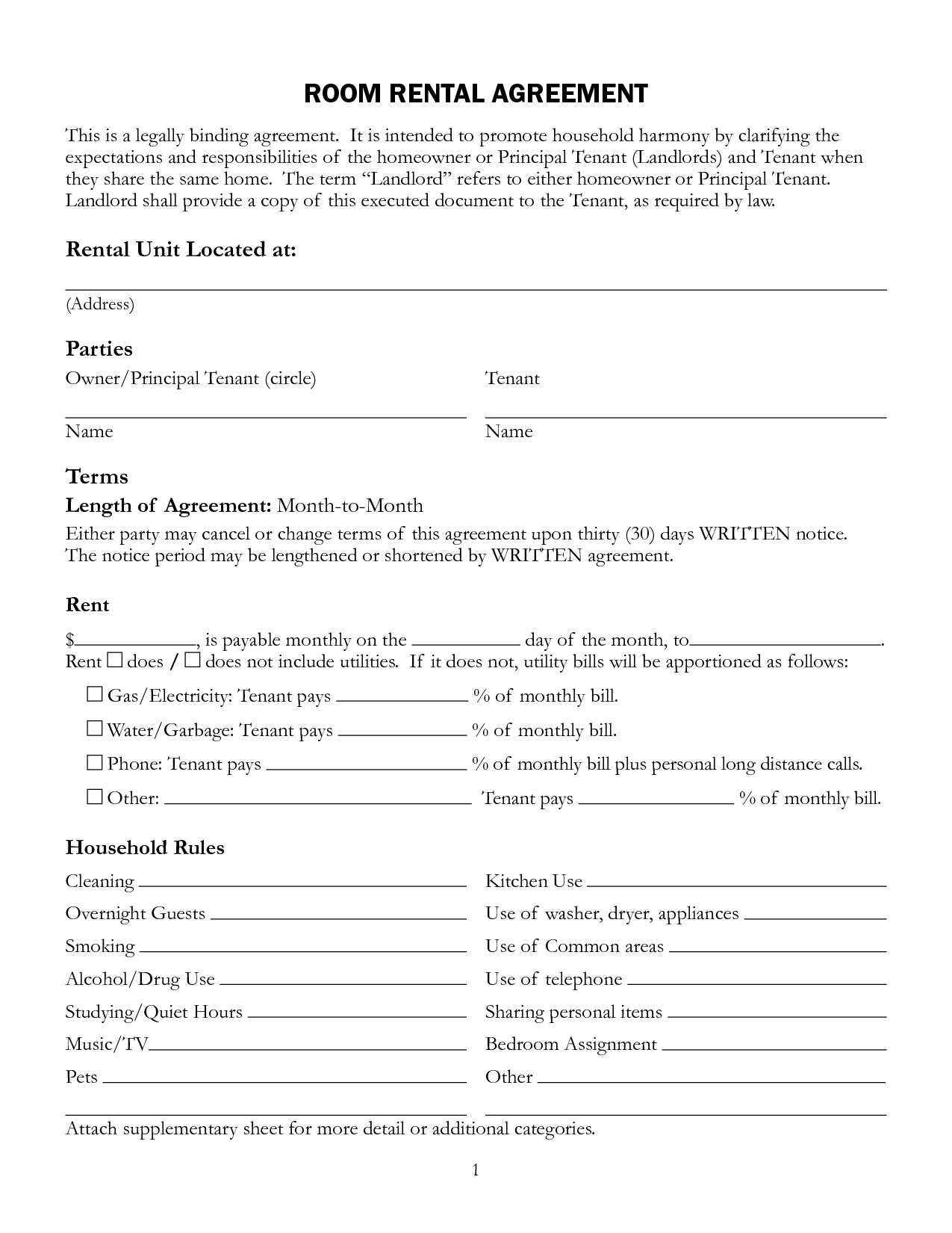 Printable Room Rental Agreement Template Free