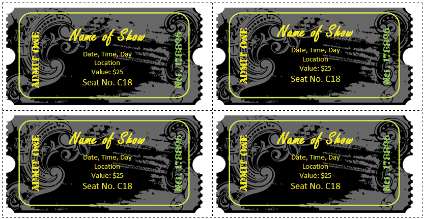 Printable Ticket Templates For Word